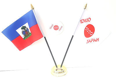 Haiti With Crest & Tokyo Japan Olympics 2020 Desk Flags & 59mm BadgeSet