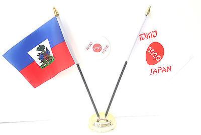 Haiti With Crest & Tokyo Japan Olympics 2020 Desk Flags & 59mm BadgeSet