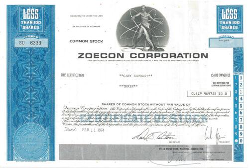 "Zoecon > Carl Djerassi ""father of the pill"" > birth control stock certificate"