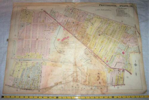 1918 Map of PROVIDENCE Rhode Island w/ Chalkstone Pleasant Valley & Smith Street