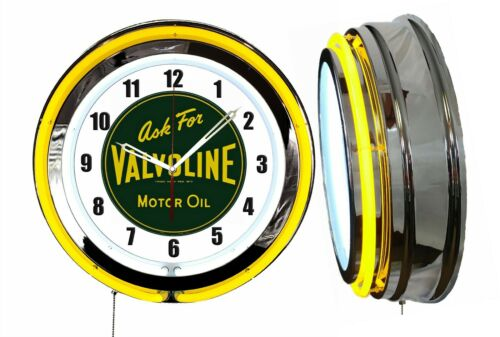 "Ask for Valvoline Motor Oil Vintage Logo Sign 19"" Double Neon Clock Yellow V2"