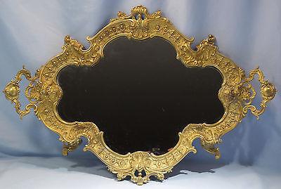 French Art Nouveau Gilt Bronze w/Mirror Large Platter/Tray Circa 1900