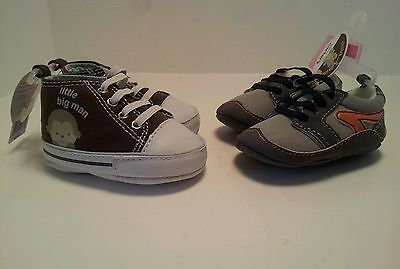 NWTLOT 2 PAIR CHILD OF MINE BY CARTER'S UP TO 3 MONTH LITTLE BIG MAN BROWN SHOES