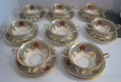 8 AYNSLEY Cream Soup Bowls w/Underplates  - Gray and Gold #7967 -  Gold Accented