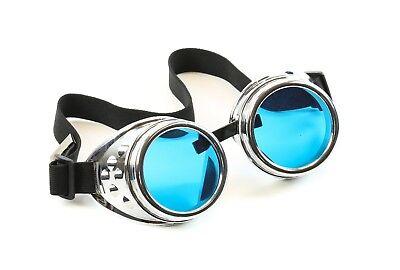 Blue Lens Silver Goggles Steampunk Punk Goth Burning man Sun glass 3 Set Lens (Burning Man Glasses)