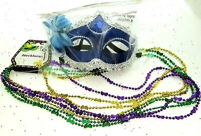 Mardi Gras Eye Mask & Necklaces Costume Mascaraed Parade New Orleans Party blue