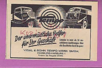 HAMBURG-HARBURG, Werbung 1951, Vidal & Sohn Tempo-Werk GmbH Auto Kfz