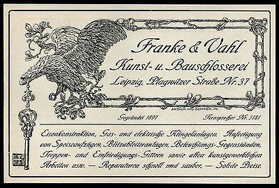 Alte Reklame 1909 Franke & Vahl Kunst- Bauschlosserei Leipzig Plagwitzer Strasse