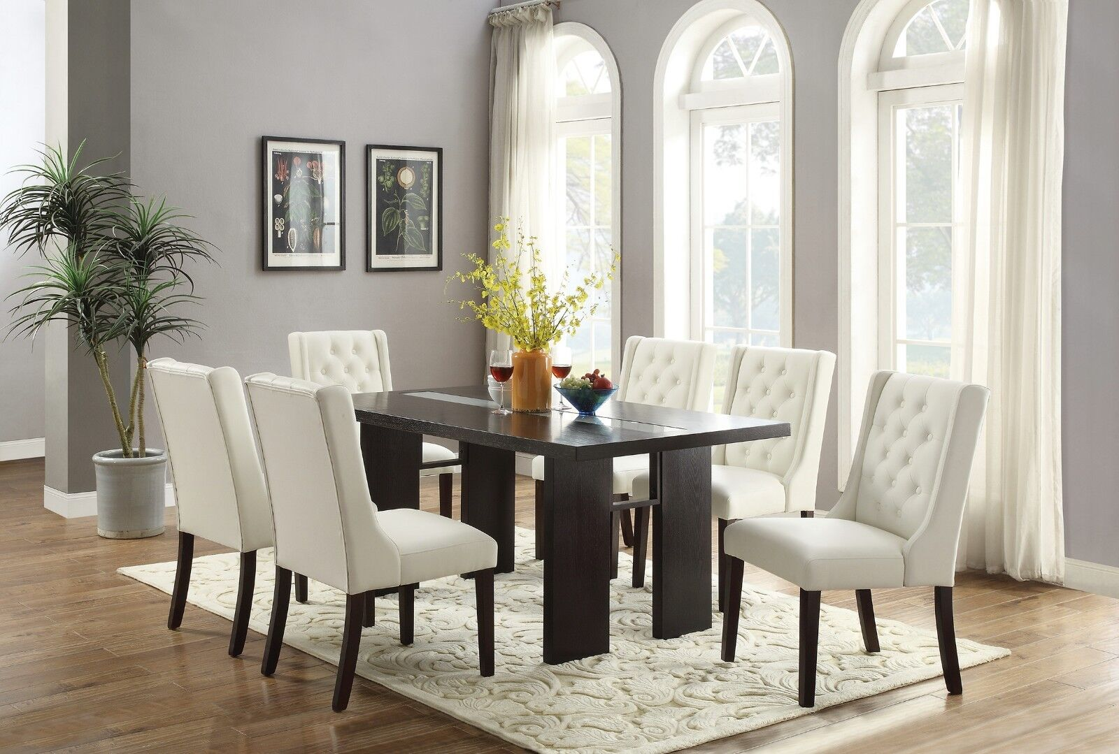 Picture of: Modern Oval Shaped Dining Table W 6 Chairs Faux Leather Seat Back Dining Room For Sale Online Ebay