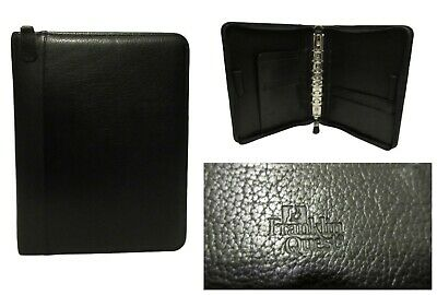 Franklin Quest Covey Classic Zip Binder Planner Pebbled Leather Black 1.25 Ring