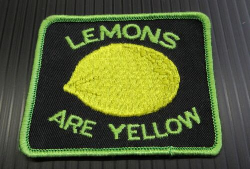 New Vintage Embroidered Lemons Are Yellow  Patch NOS (Green & Black)
