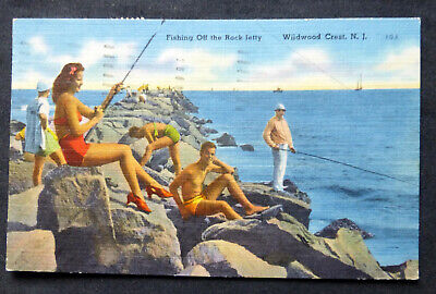 Pinup, Pretty Young Lady Fishing on a Rock Jetty, Men Watching, circa 1940's