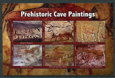 Tanzania 2017 MNH Prehistoric Cave Paintings Lascaux Bhimbetka 6v M/S Art Stamps