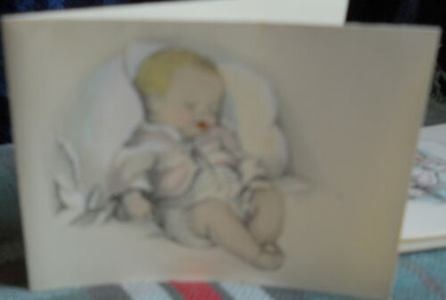 """VINTAGE9 BIRTH ANNOUNCEMENT * here I am---just brand new * 4"""" X 3""""INCHES H"""