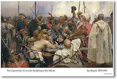 The Zaporozhye Cossacks Replying to the Sultan - Ilya Repin - NEW Art Poster