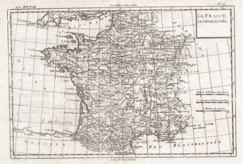 1780 Raynal and Bonne Map of France