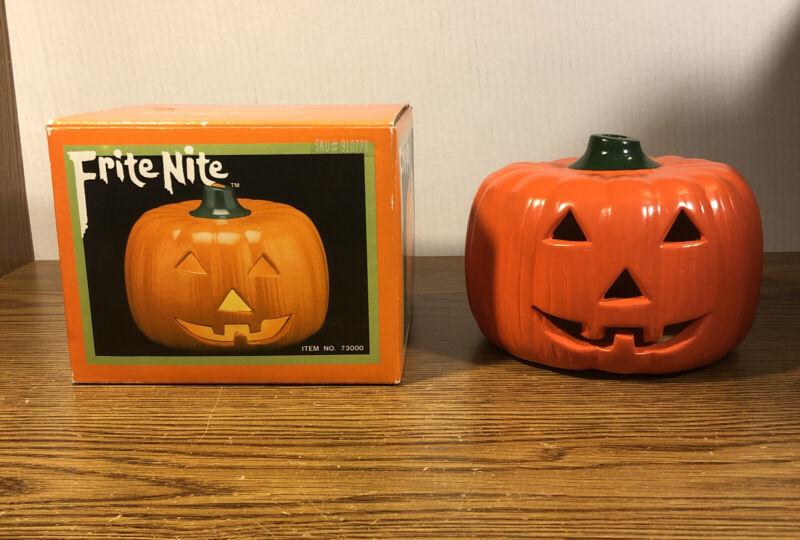 Frite Nite Ceramic Handpainted Pumpkin 1989 Vintage Original Box Halloween 73000