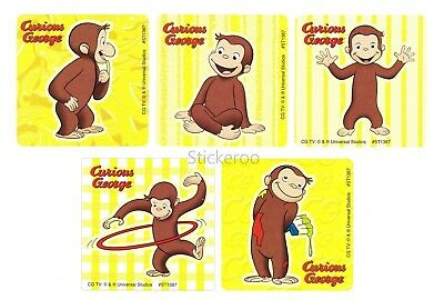 Curious George Party Supplies (15 Curious George Monkey Stickers Kid Reward Party Goody Loot Bag Favor)