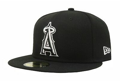 Anaheim Angels Cap - New Era 59Fifty Fitted Hat Cap Los Angeles Angels Of Anaheim Black White 5950