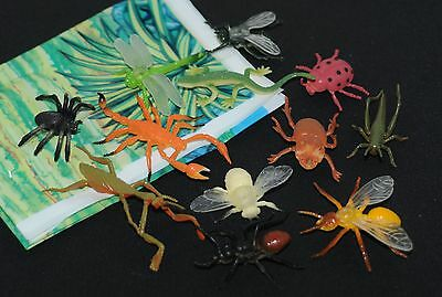 12 solid plastic bugs insects mini beasts +mat spiders flies etc FREE POST o89