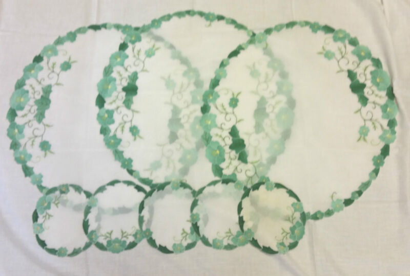 VINTAGE MADEIRA EMBROIDERY AND APPLIQUE ON ORGANDY -3 LARGE DOILIES 5 COSTERS