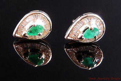 14k Yellow Gold .50ctw Diamond & Emerald Pear Shaped Earrings