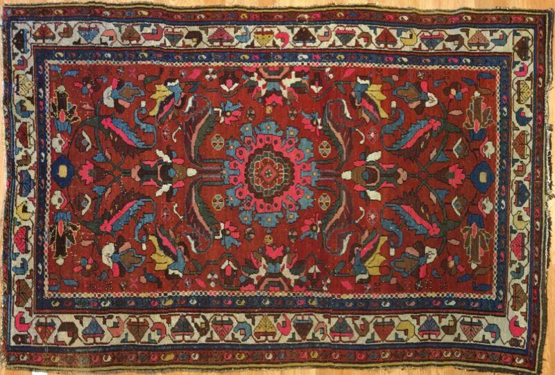 Terrific Tribal - 1910s Antique Kurdish Rug - Nomadic Carpet - 4.4 X 6.5 Ft.