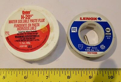 """Oatey H-20 Flux and Lenox Lead Free Solder WS15039 .118"""" 3mm, Lot of 2 for sale  Port Charlotte"""