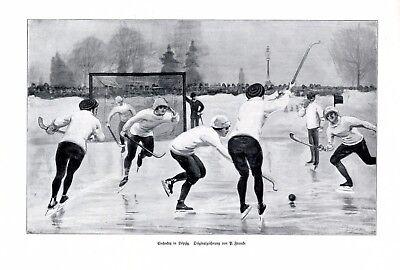 Eishockey in Leipzig XL Kunstdruck 1908 von P. Francke +