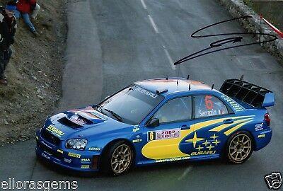 Rally Driver Stephane Sarrazin Hand Signed Photo Subaru Impreza WRC  12x8