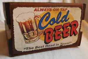 ALWAYS ON TAP COLD BEER - THE BEST HEAD IN TOWN CRATE BASKET