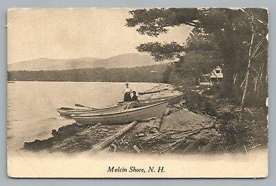 Melvin Shore NH Tuftonboro—Lake Winnipesaukee—Women & Boats Antique PC 1910s