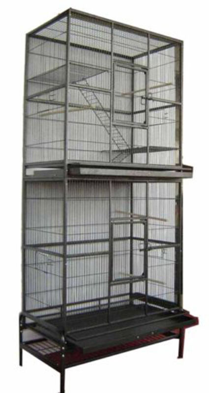 "76"" LARGE Double Stackable Bird Flight Breeding Metal Cage With Rolling Stand"