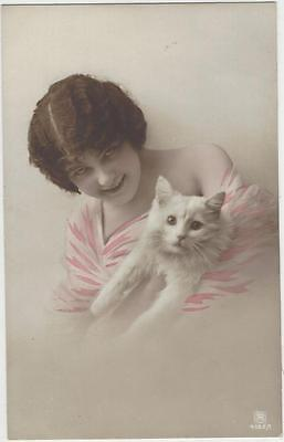 Cat Postcard - Lady and white cat