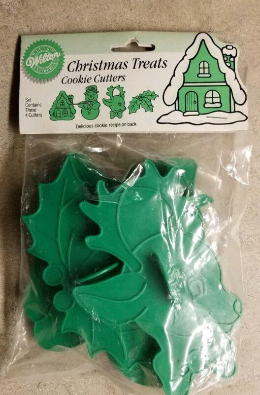WILTON Christmas Treats Green Plastic Cookie Cutters Set of 4 NIP 1995 Christmas