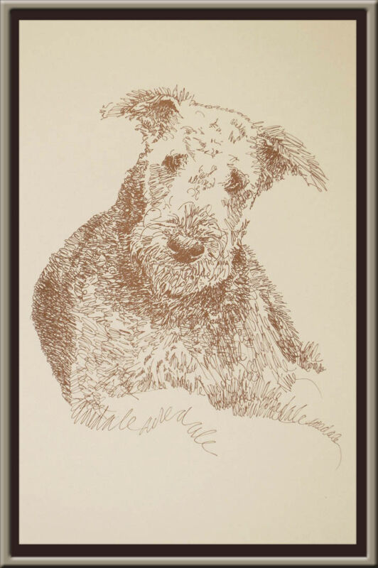 Airedale Terrier dog art portrait drawing PRINT 77 Kline adds dog