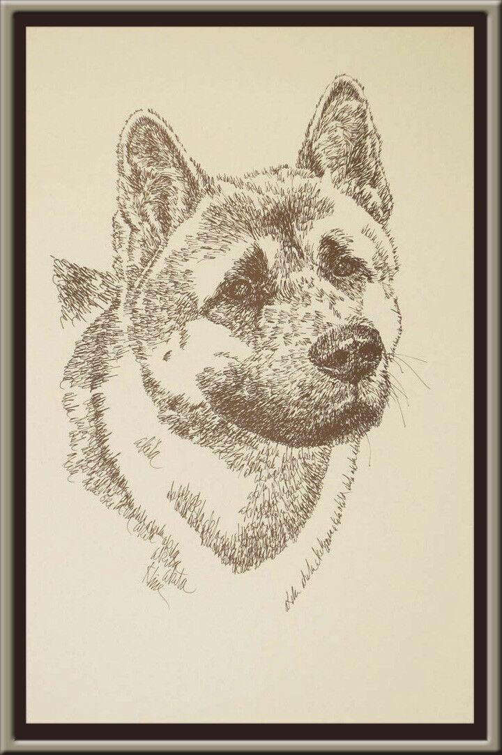 AKITA DOG ART Signed Stephen Kline Lithograph ...