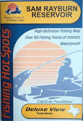 Reservoir Fishing Map - Sam Rayburn Reservoir Detailed Fishing Map, GPS Points, Waterproof #A435
