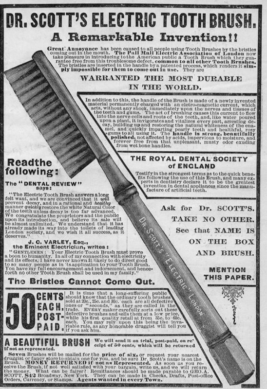 DENTIST DR. SCOTT ELECTRIC TOOTHBRUSH 1884 DENTAL INVENTION ADVERTISEMENT