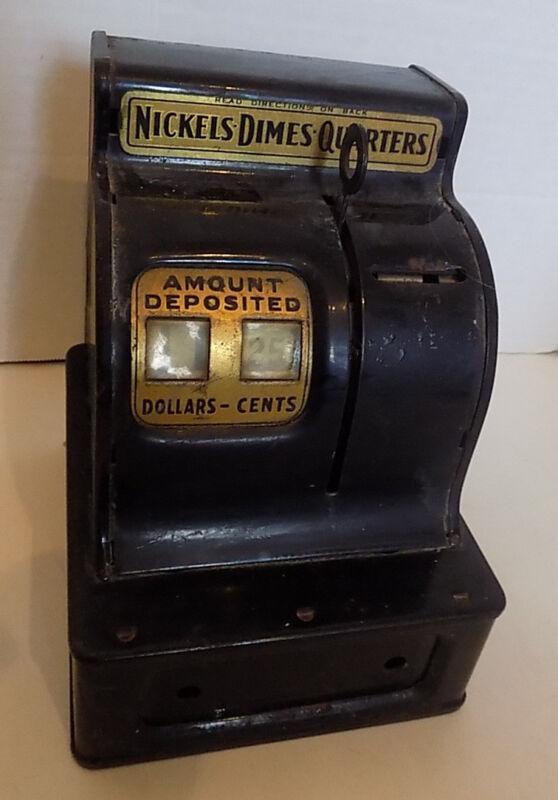 Vintage Black Metal Cash Register Bank