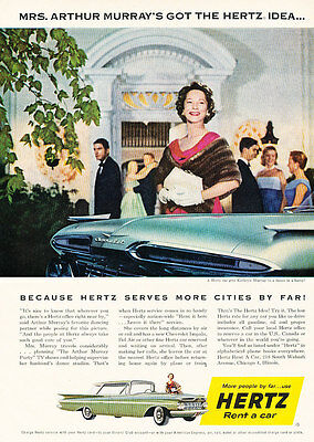 1959 Hertz Rental Car Chevrolet   Vintage Advertisement Car Print Ad J472