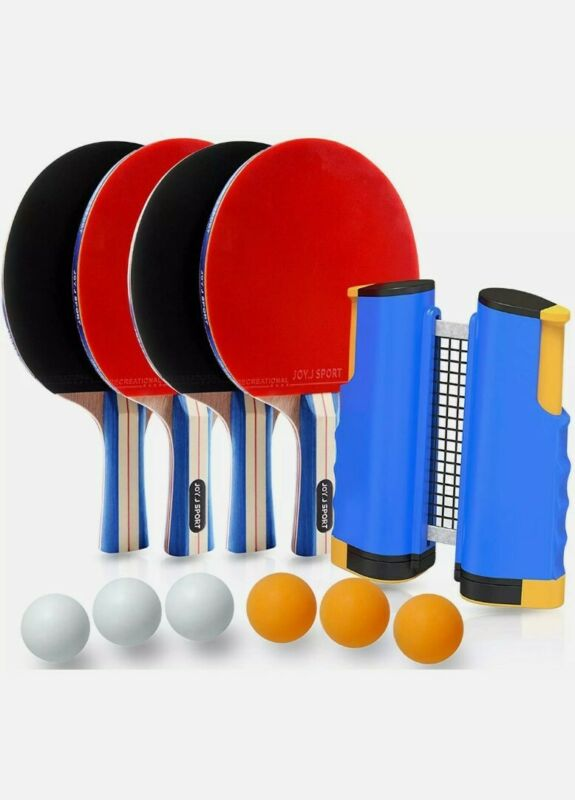 Joy.J Sport Ping Pong Paddle Set with Retractable Net - 4 Paddles **SEE DESC**
