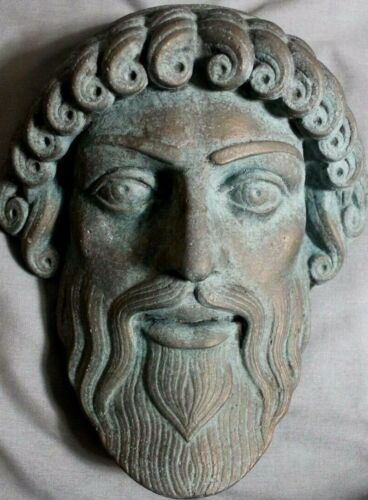 Zeus Poseidon Greek Theater God Mask  Plaque Gothic Bronze Primitive Art Fine