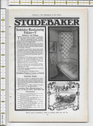Studebaker Sleigh 1907 magazine print ad