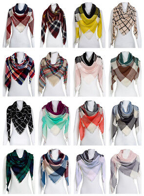 (Women Oversized Plaid Triangle Blanket Scarf Checked Wrap Shawl Winter Warm)