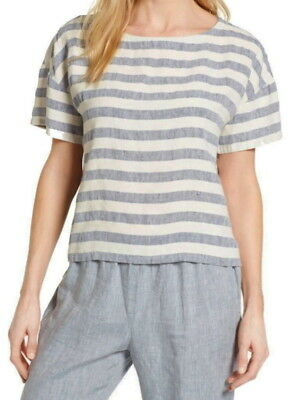 $228 Eileen Fisher Stripe Organic Linen + Silk Top Large 14 16 Cool Comfort NWT