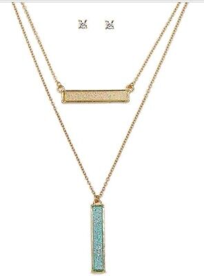 Iridescent Set - Druzy Bar Multi Layer Necklace Iridescent Pink Green Bars Crystal Earrings Set