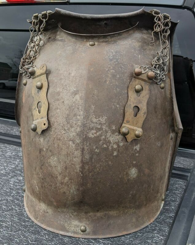 ANTIQUE 1849 FRENCH CUIRASSIER HEAVY CAVALRY CUIRASS BREASTPLATE & BACKPLATE
