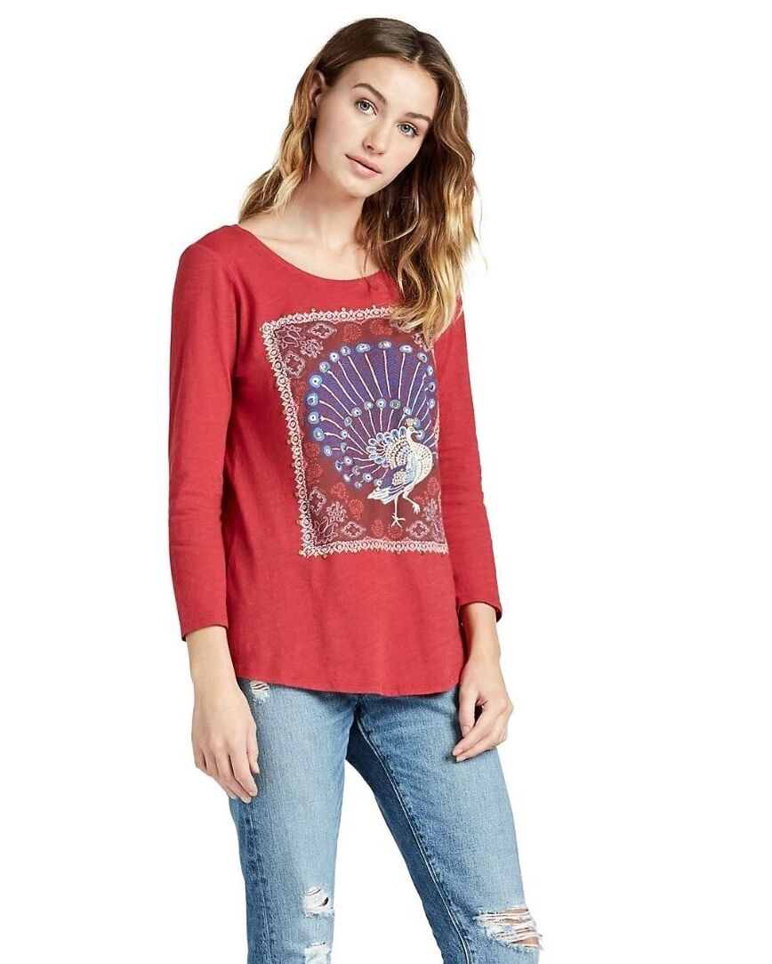 Lucky Brand - Womens S - NWT  Red Peacock Rug Stamp Stud Emb