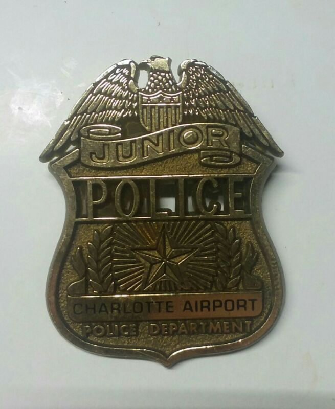 Junior Police Charlotte Airport Police Department Badge Gold